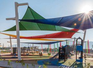 stock photo al ain united arab emirates november modern kids playground under the colorful tensile